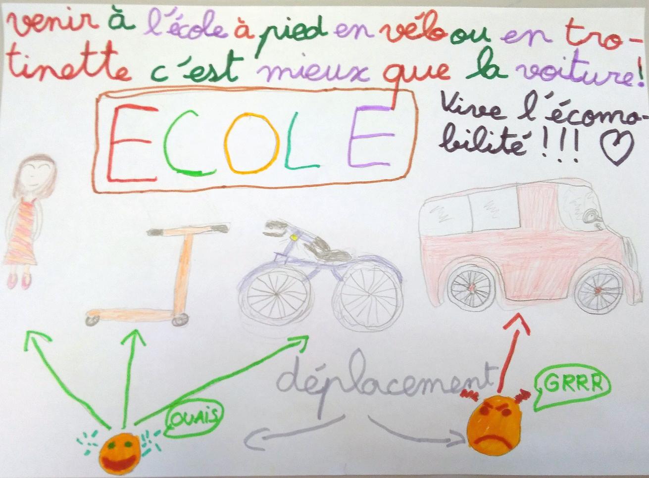 Affiche Ecomobilité produite par un élève de la classe de Mme CALVET, école de Sainte-Croix-de-Quintillargues