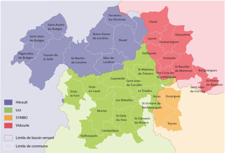 Carte des bassins versants du territoire