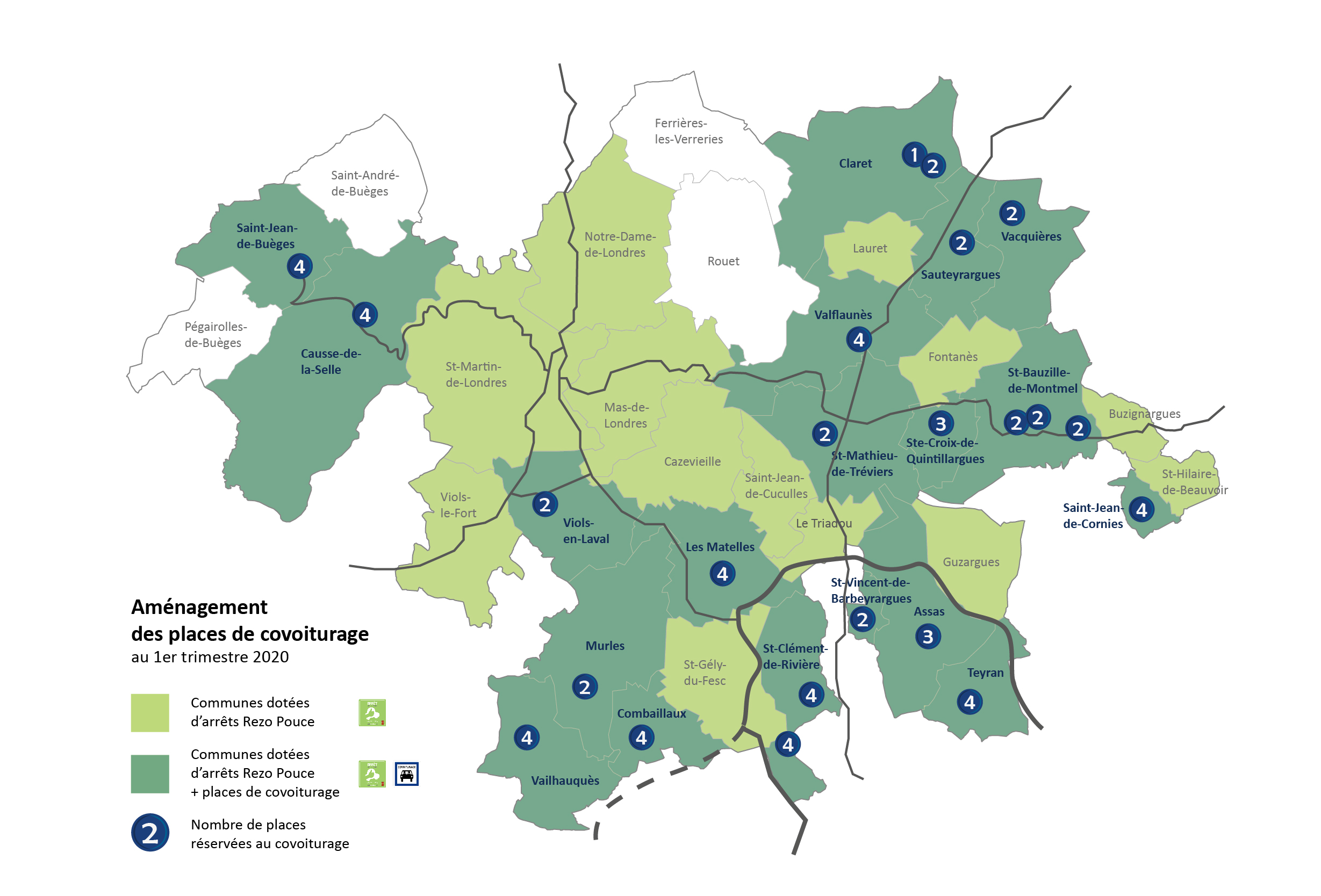 Localisation des places réservées au covoiturage 2020