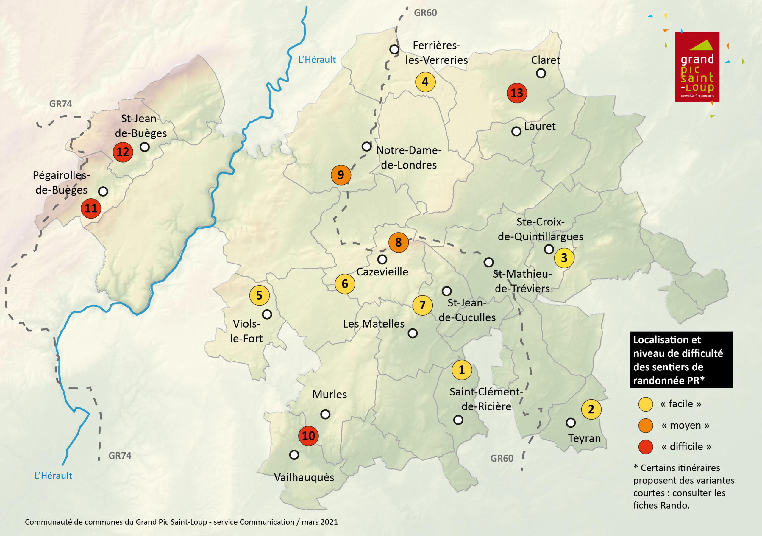 Localisation des sentiers de randonnée PR et niveau de difficulté