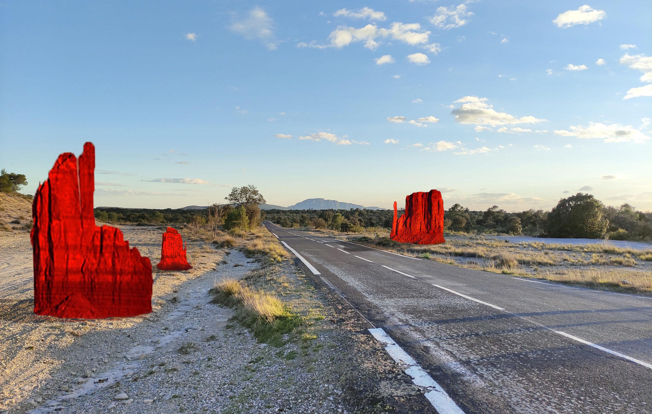 """Monument Valley"", création in situ - Aux bords des paysages #5. @ Gaspard Combes"