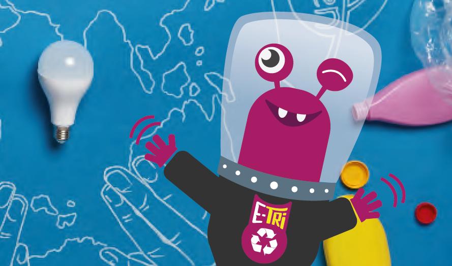 E-Tri, la mascotte du tri, fait la une du catalogue 2021-2022